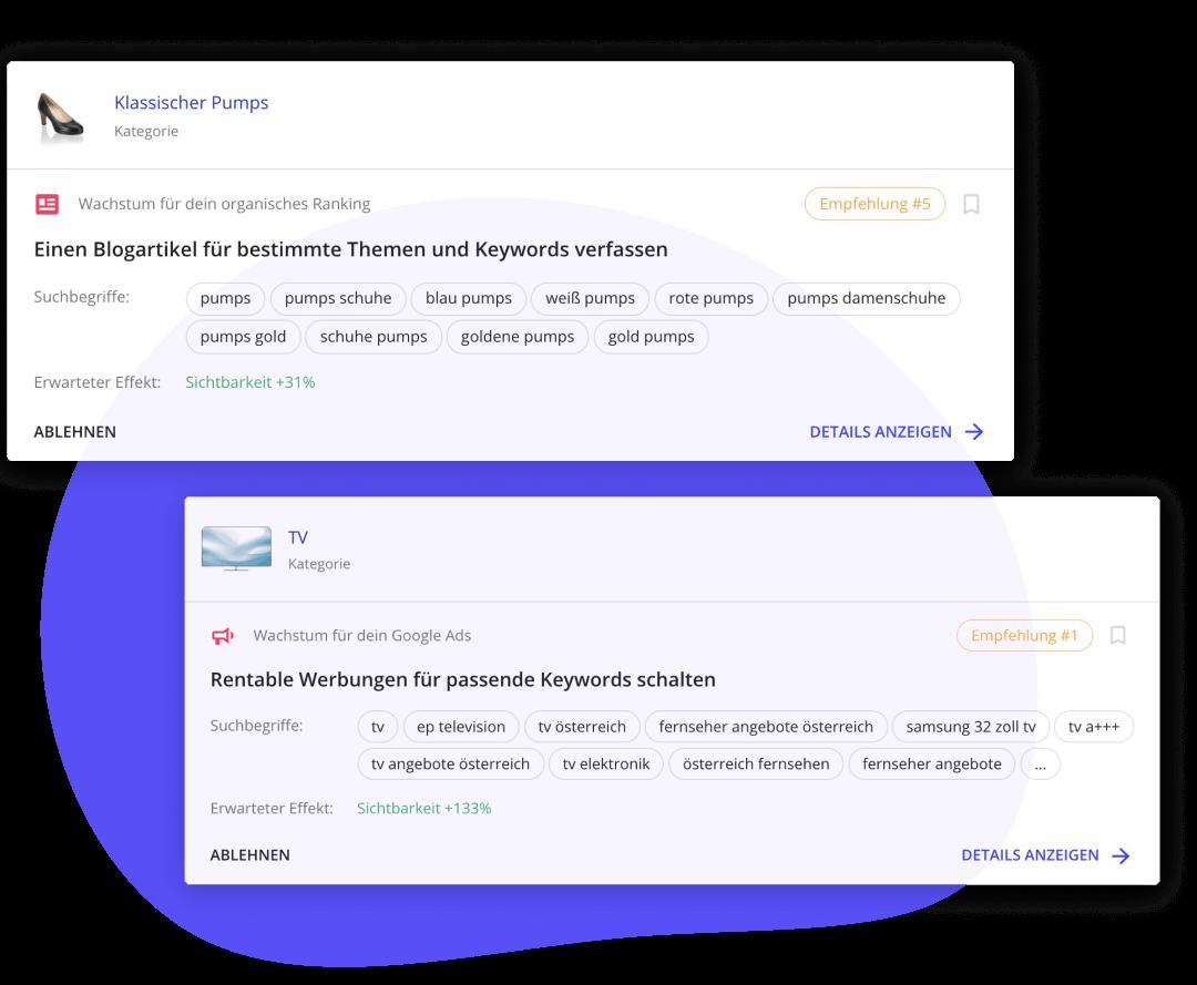 Ein Beispiel-Screenshot aus der App, der die Empfehlungen in boomerank darstellt.