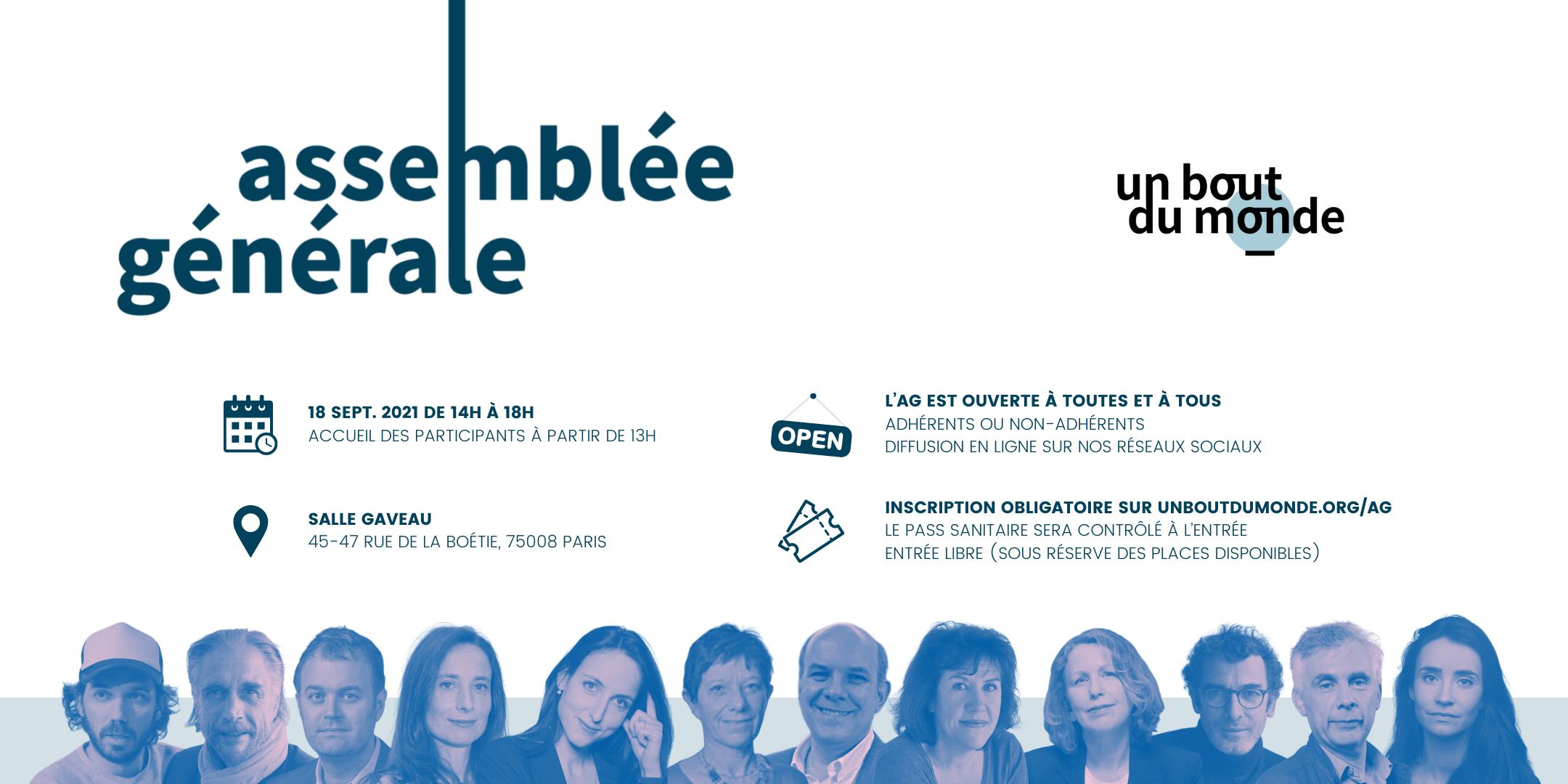 Bannière de présentation de l'assemblée générale, avec les visages des intervenants dont Julia Cagé, Franck Annese, Pascale Clark, Daniel Schneidermann ou Raphaëlle Bacqué.