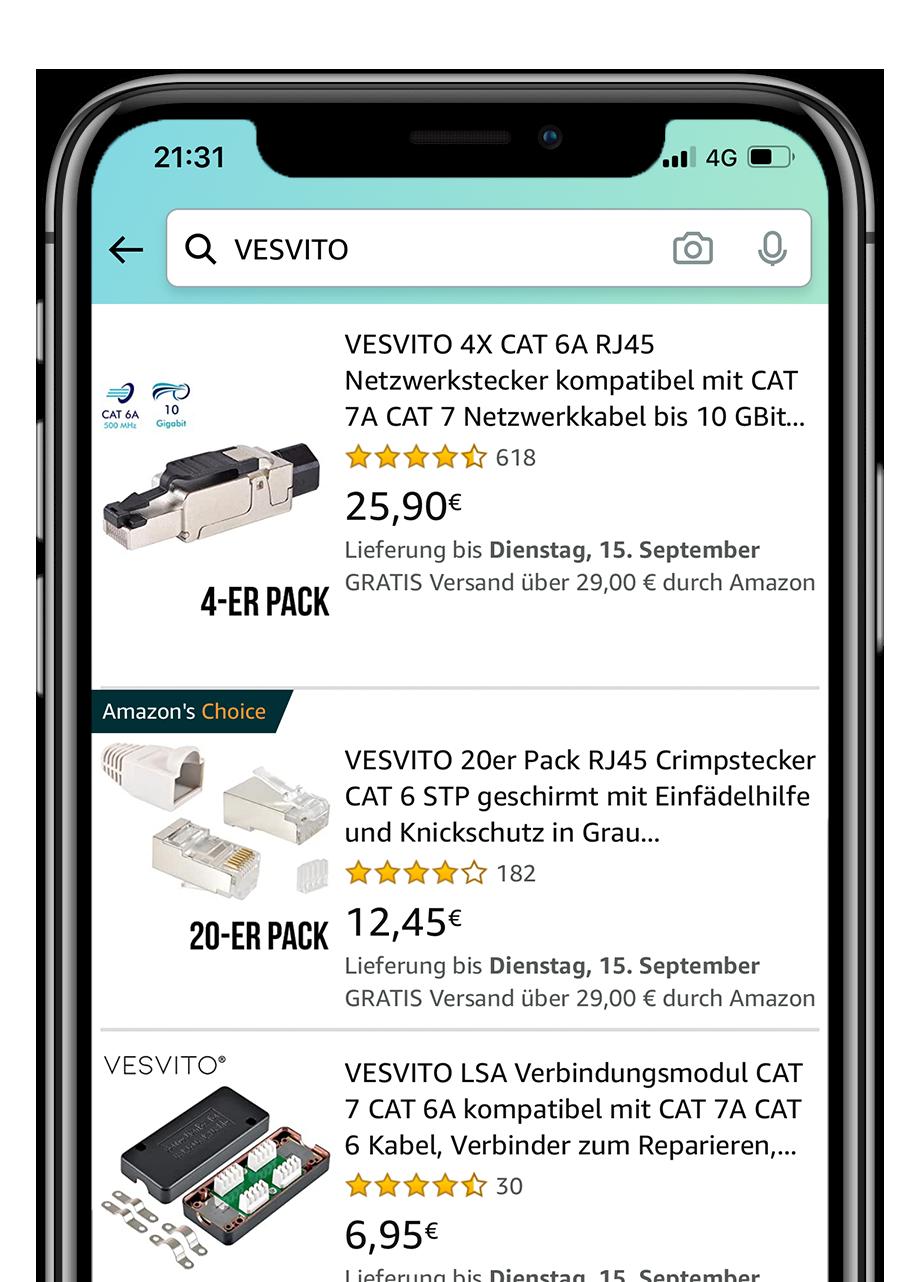 Amazon VESVITO Webshop auf iPhone mit Netzwerkstecker RJ45 Crimpstecker und LSA