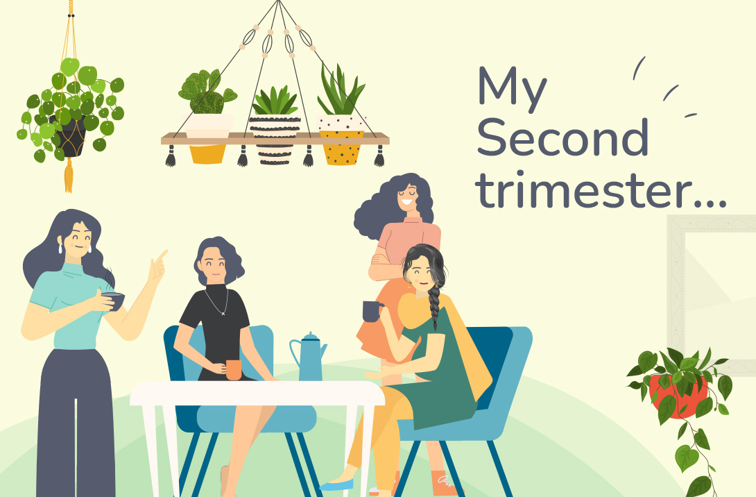 Malini gives the girls information about the second trimester as they hangout in their building's garden. She sums up the issues neatly as FIVE FOES of the second trimester!