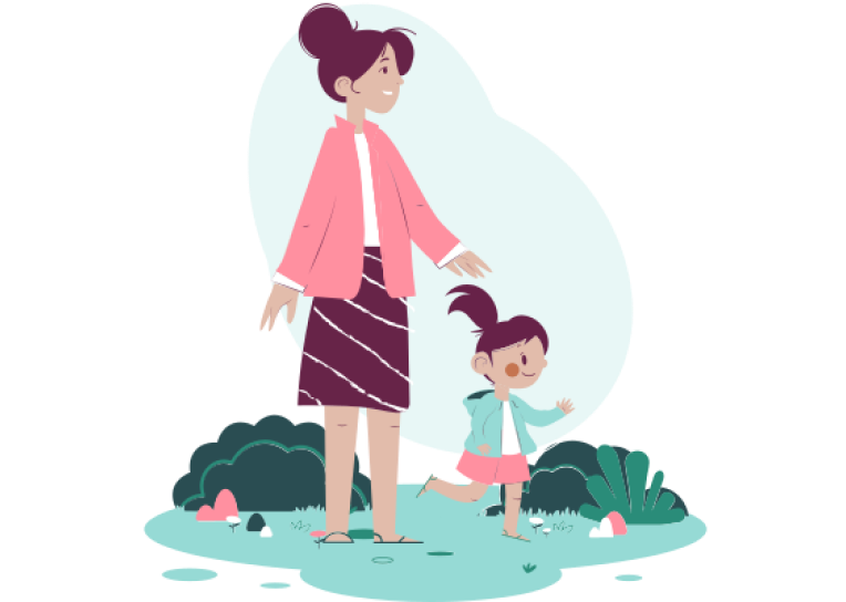 mom with daughter illustration