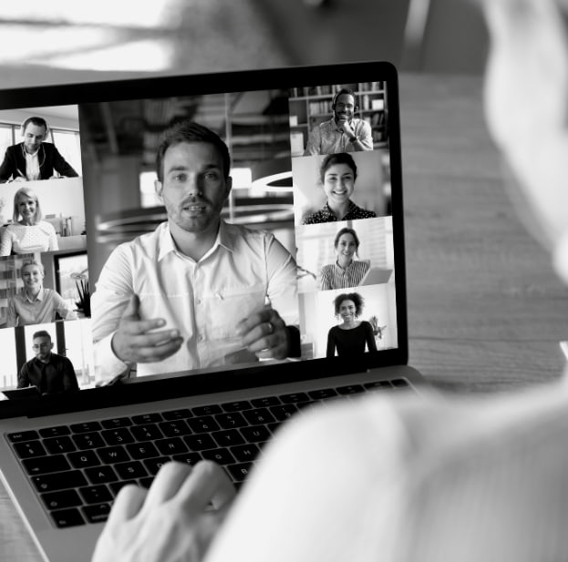 image of a video conference on a laptop