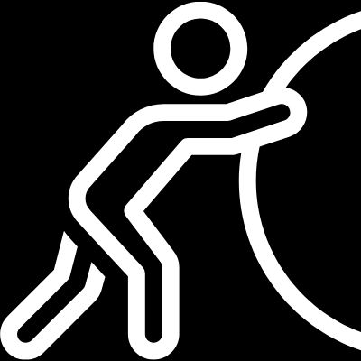 icon of a person pushing a heavy rock