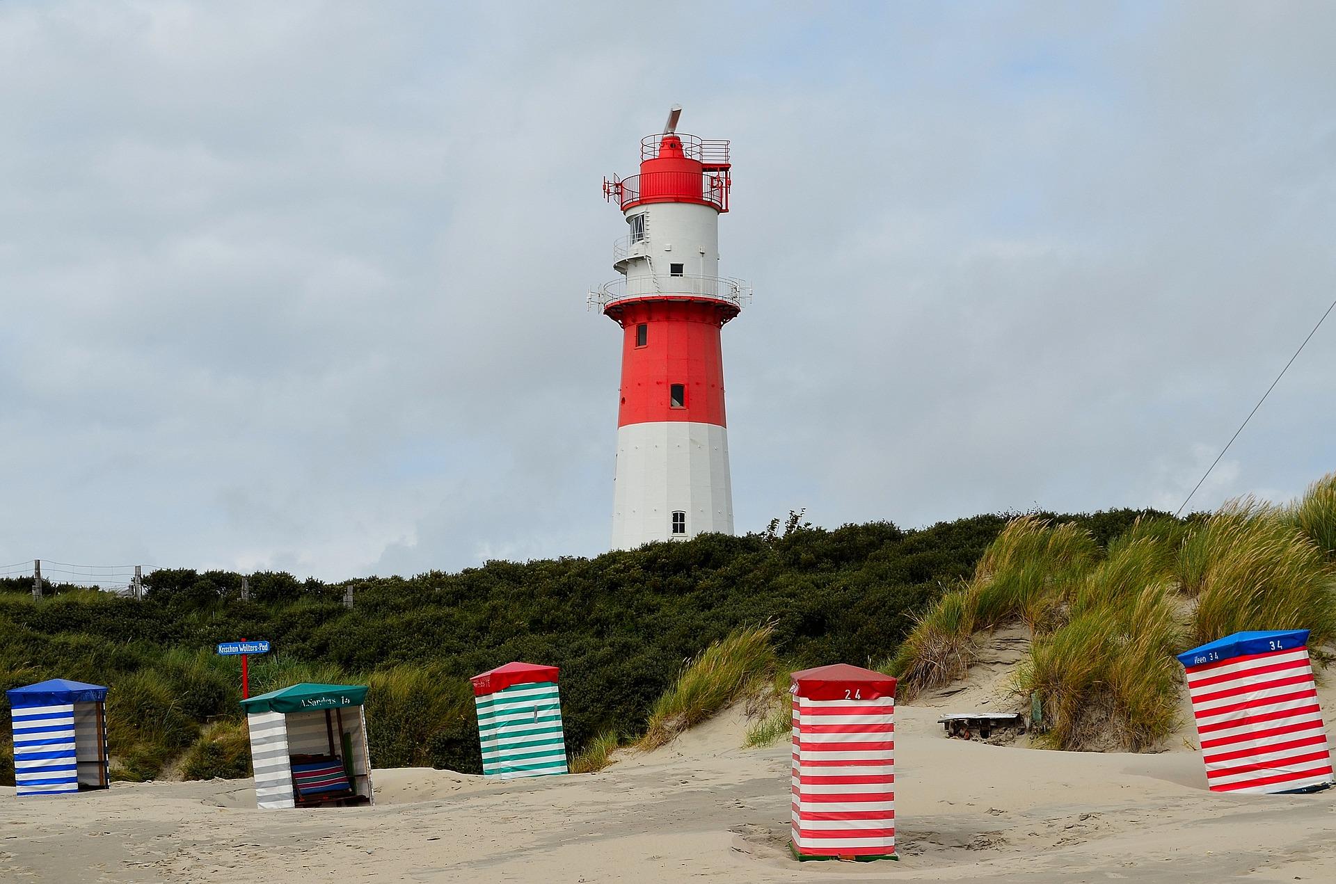 Borkum Strand mit Leuchtturm