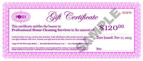 POSH Cleaning Service Gift Certificate