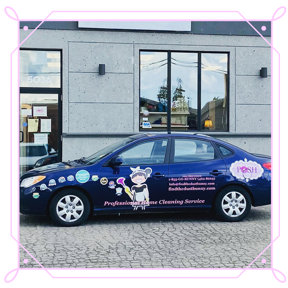 POSH Cleaning Service   POSH Maid Service - POSH Car with vehicle advertising wrap on the vehicle.