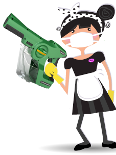 POSH Clean Service | POSH Maid Service -  Electrostatic Disinfectant Spraying Service with Maggie wearing mask and with spray machine