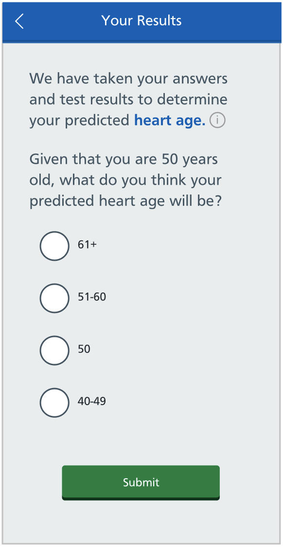 Multiple choice question asking patient to predict their heart age