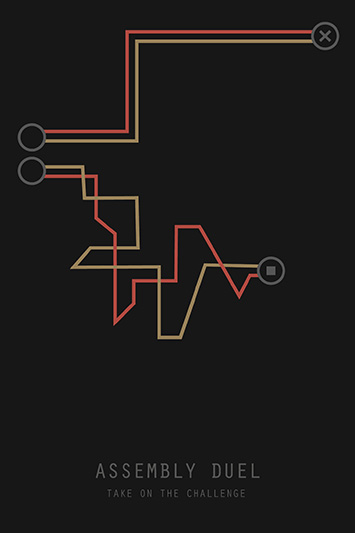 image of a poster for the project with two paths - one easy to follow, and one very squiggly. The bottom it says 'Assembly duel'