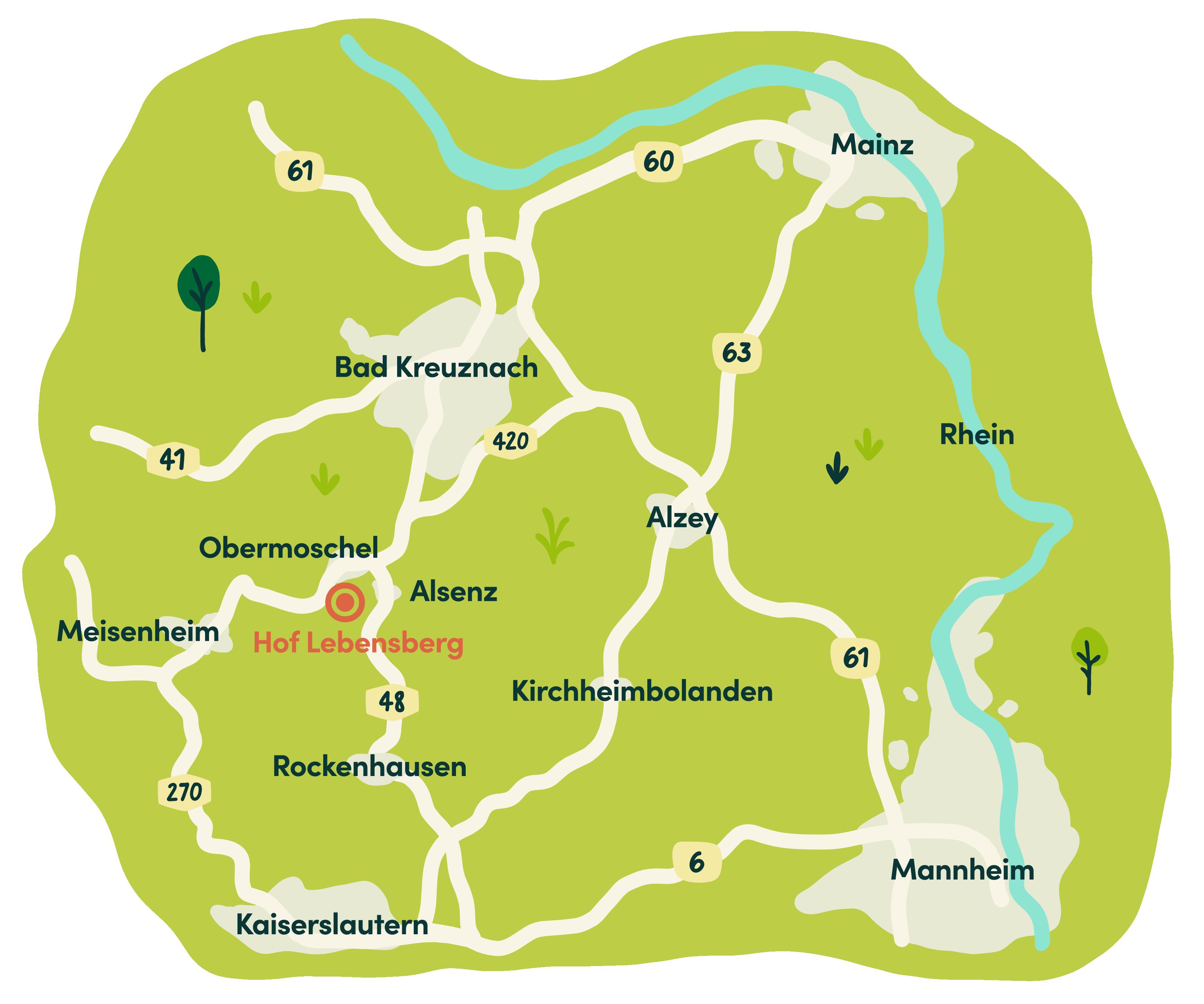 Hof Lebensberg Anfahrt Karte