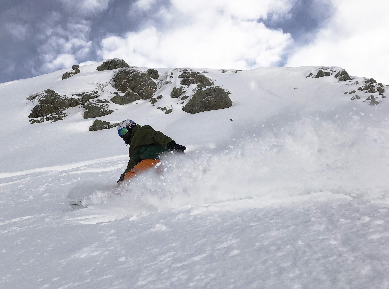 A FSC snowboarder in St. Anton.