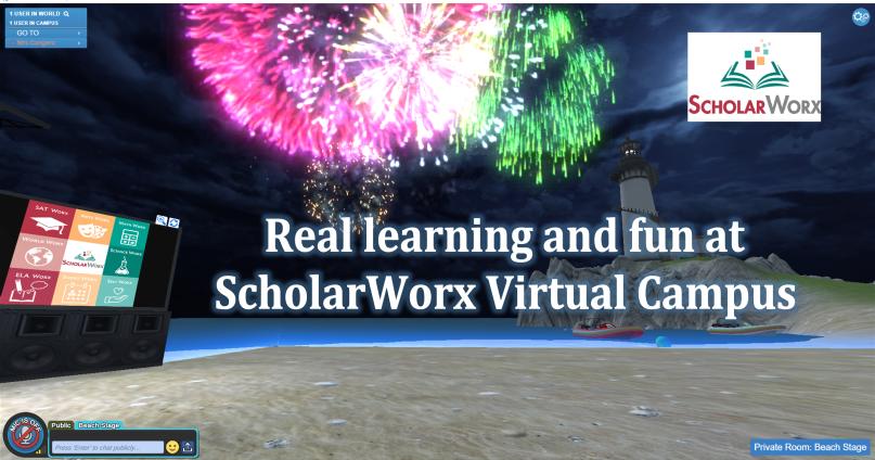 Fireworks on the ScholarWorx beach