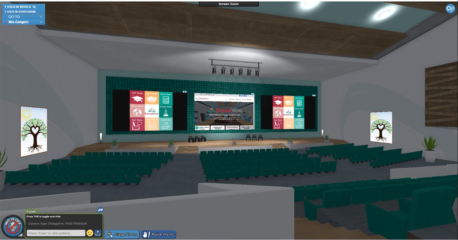 ScholarWorx Virtual Campus auditorium