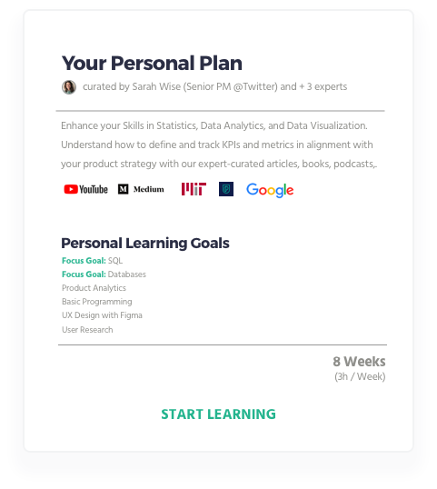 Your Personal Learning Plan with ZAGE - for Digital Marketing, Product Management