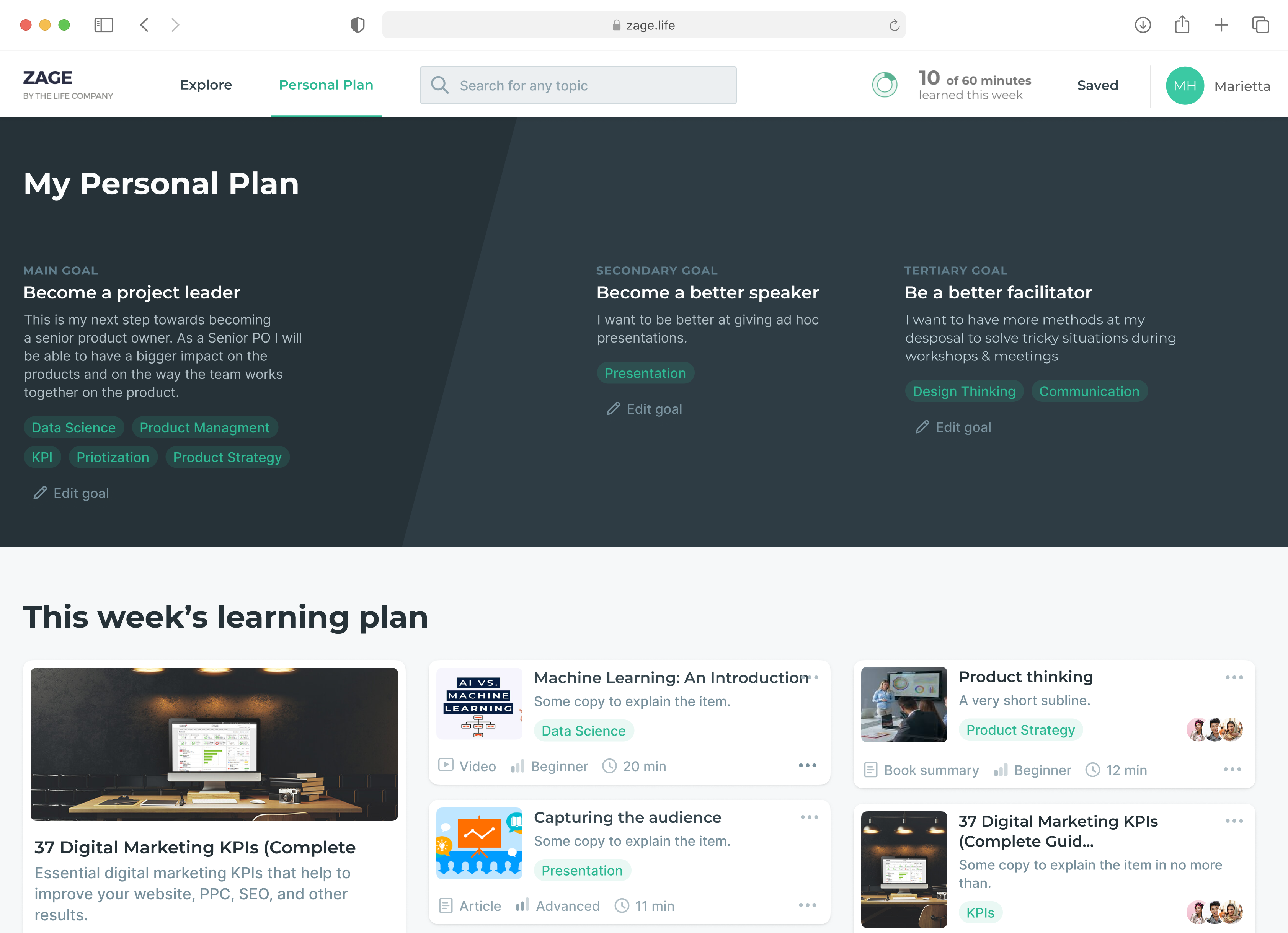 Picture of Custom Learning Plan Pages on ZAGE. Your team's home screen to get better every week. In marketing and product management.