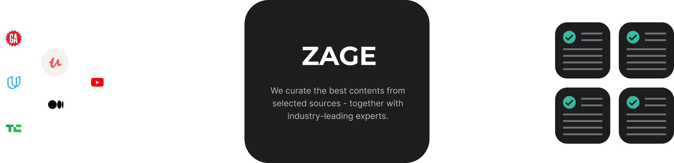 The ZAGE curation process: Together with industry professionals, we curate contents from selected sources. From courses, articles, podcasts, videos, and books.