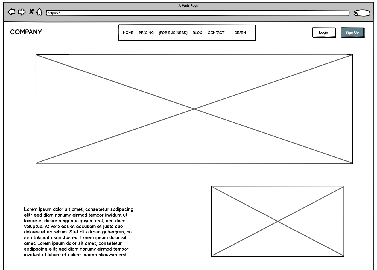 Example of a wireframe prototype as a task of the UX Designer