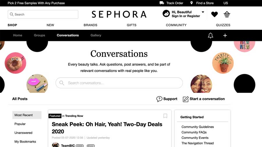 A picture from the Sephora Online Community - an example of customer relationship management