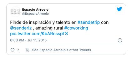 Screenshot from Espacio Arroelo's tweet about their stay in Sende