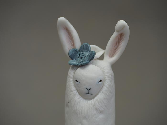 White Rabbit with Grey Flower and Leaf