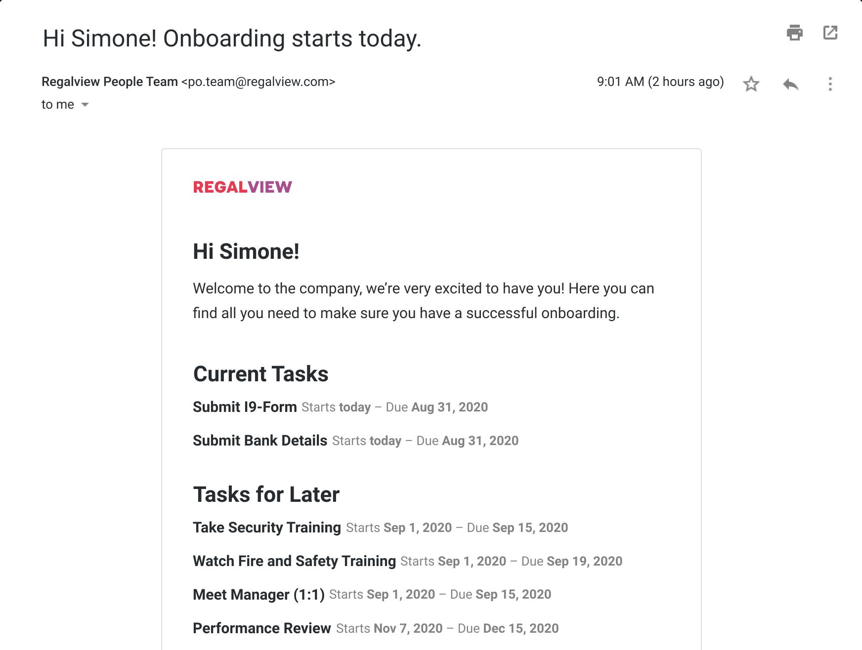 Screenshot of Dado task email