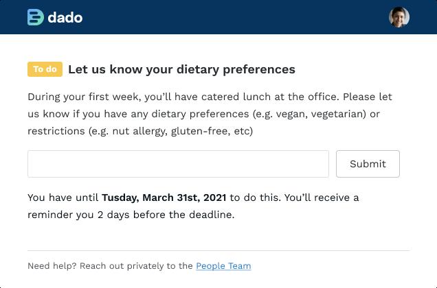 Screenshot of Dado employee task