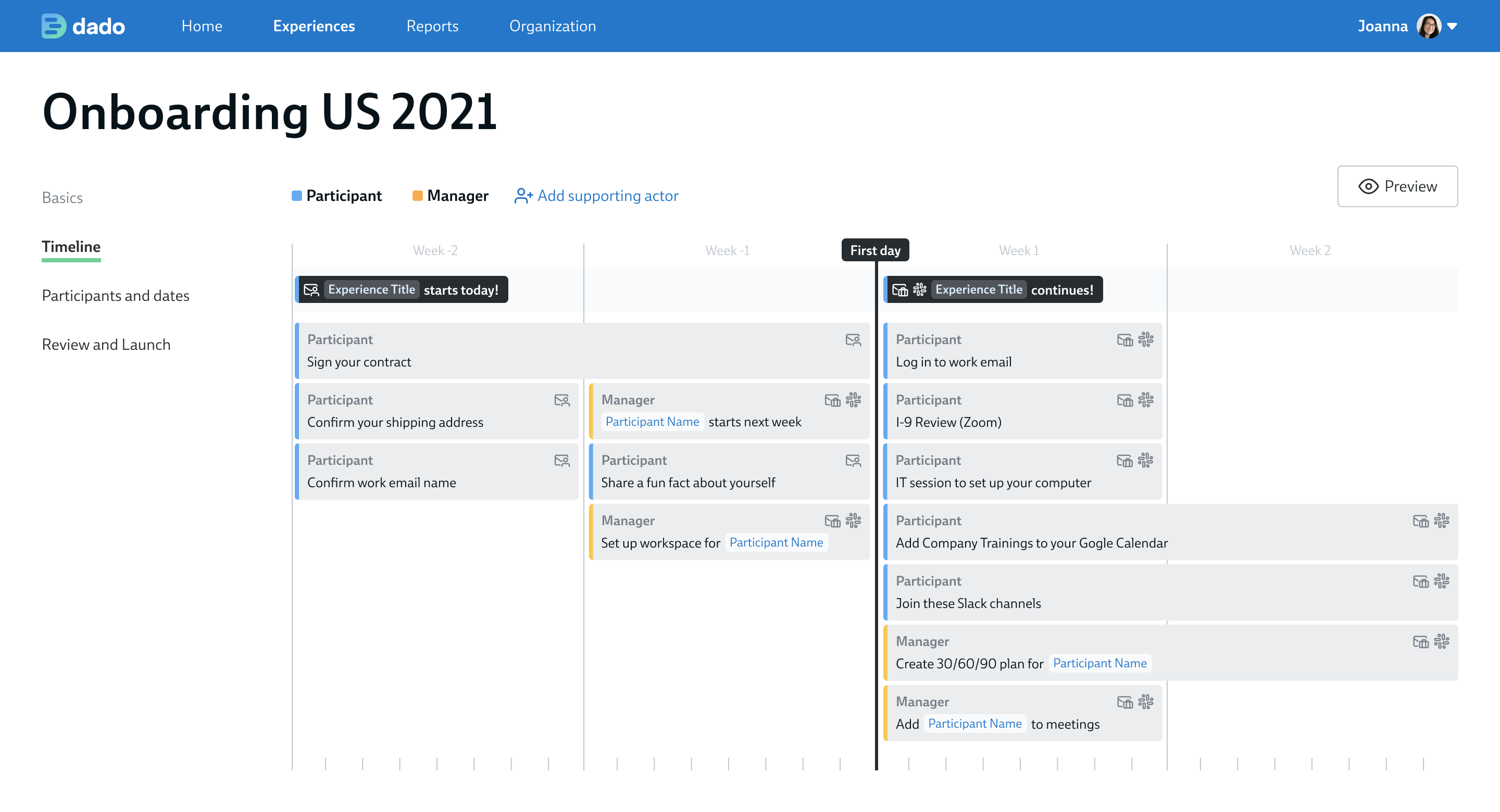 A screenshot of the Timeline feature in Dado