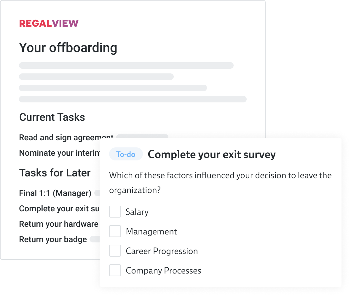 Let employees see what will happen with experience emails and page