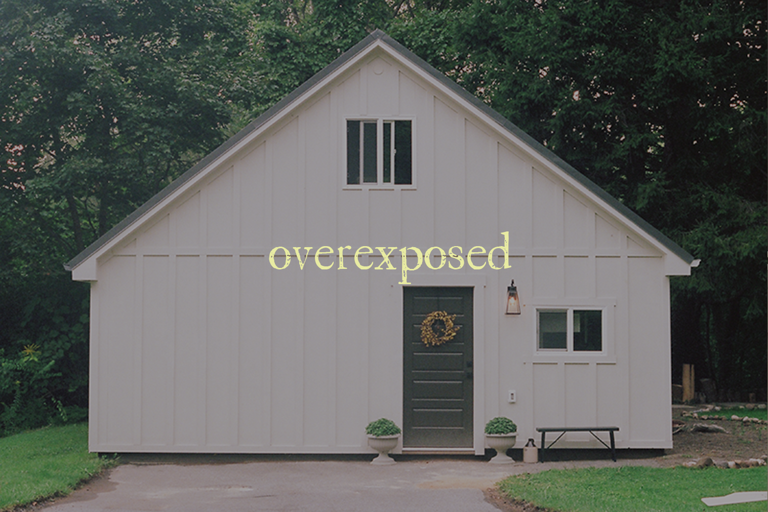 "A photo of a garage with text overlaid ""overexposed"""