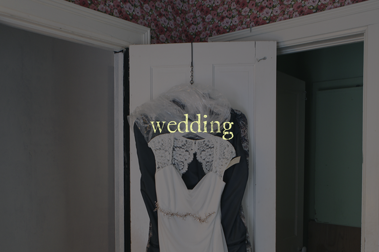 "A photo of a wedding dress hanging on a door with text overlaid ""wedding"""