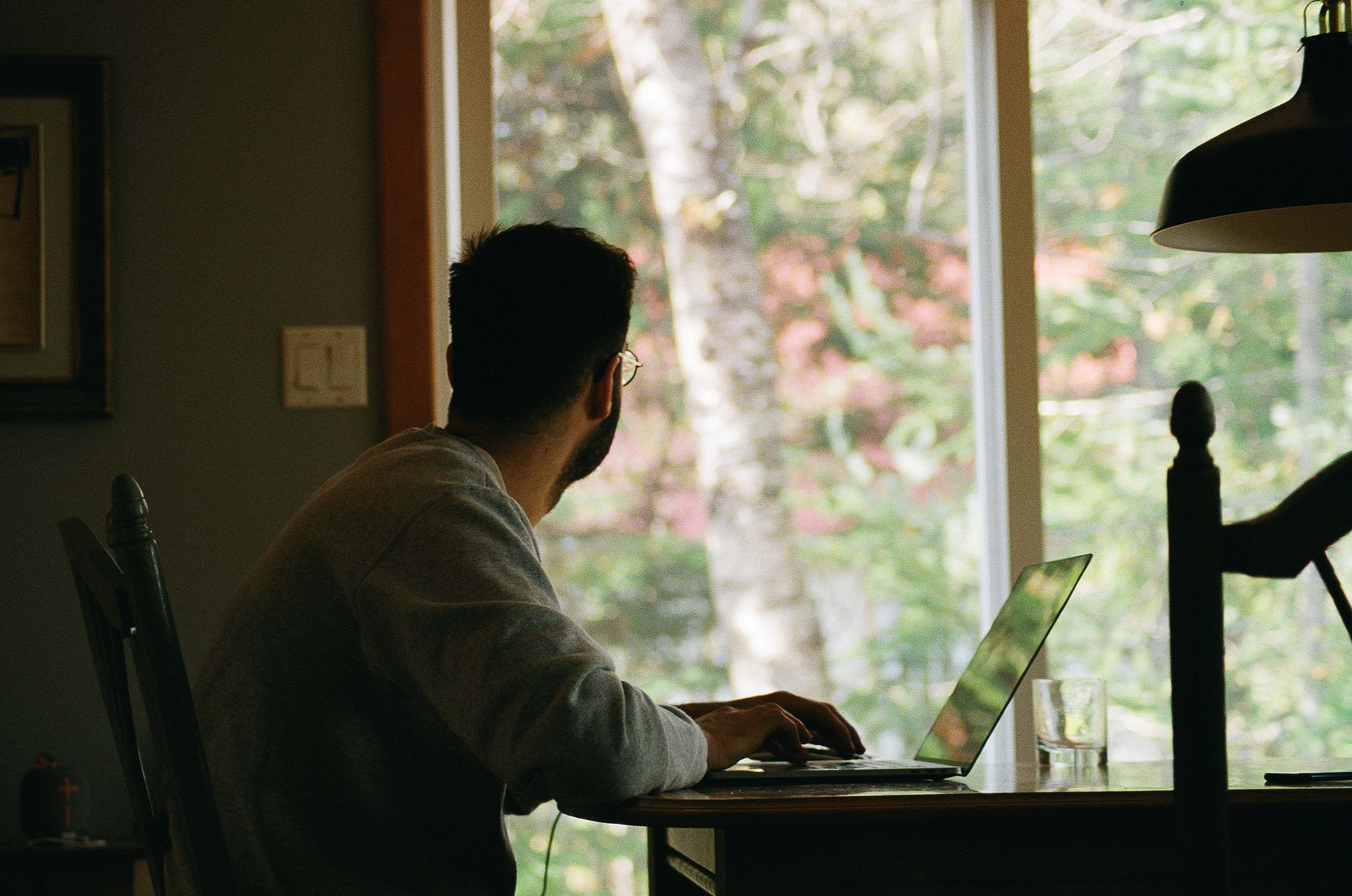 A darkened man looks out his sliding door to nature. He is tired of his Zoom meetings.