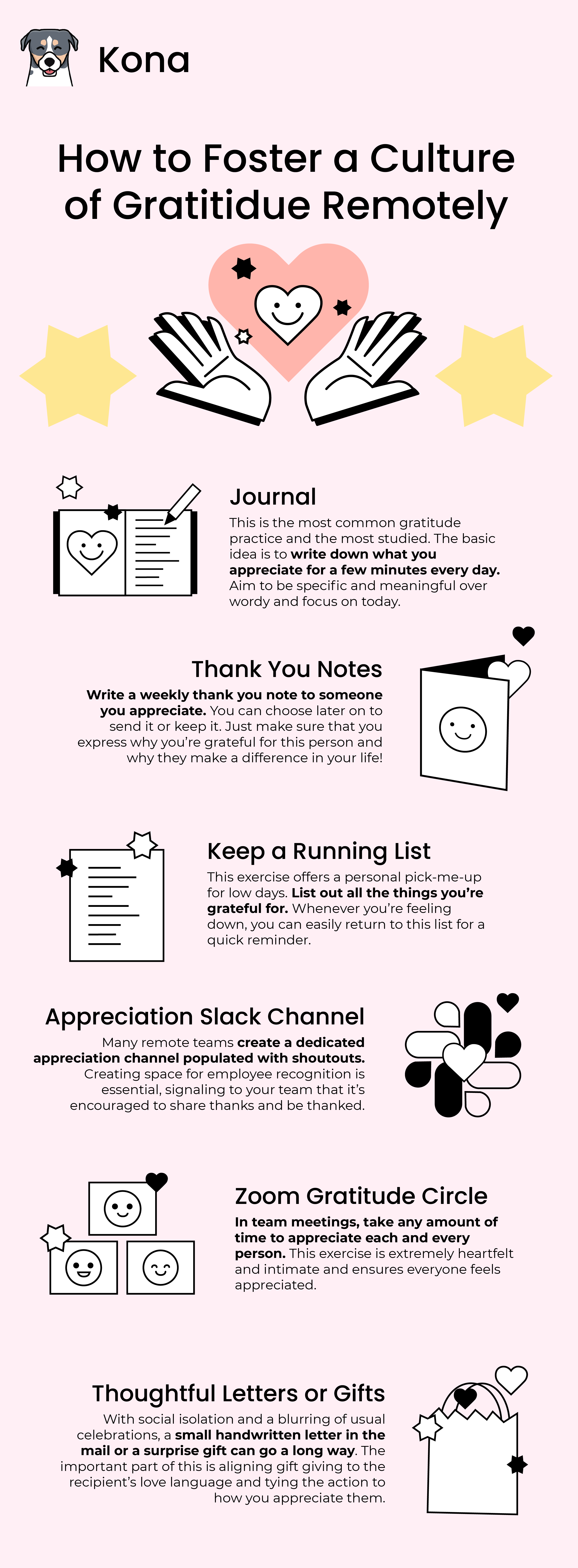 An pink and pastel infographic on gratitude in remote work.