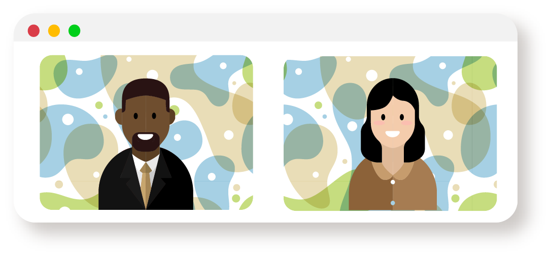 A cartoon man and woman sit in colorful backgrounds in a Zoom call window.