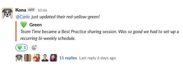 A screenshot of Tyler's Slack team doing Red-Yellow-Green.