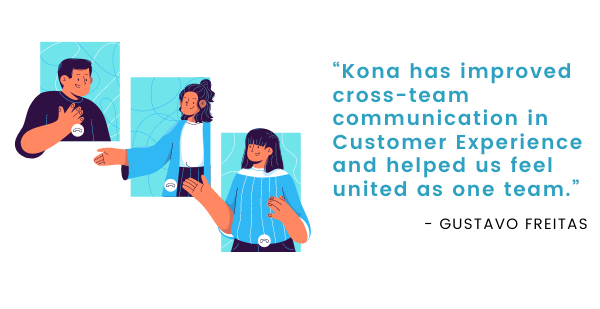 """A testimonial graphic reading, """"Kona has improved cross-team communication in Customer Experience and helped us feel united as one team."""""""