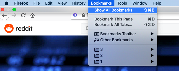 Firefox bookmarks manager