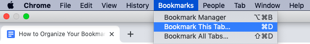Book mark this tab in Chrome