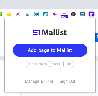 Add page to Mailist