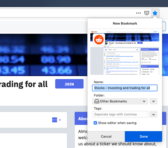 Adding bookmarks in Firefox