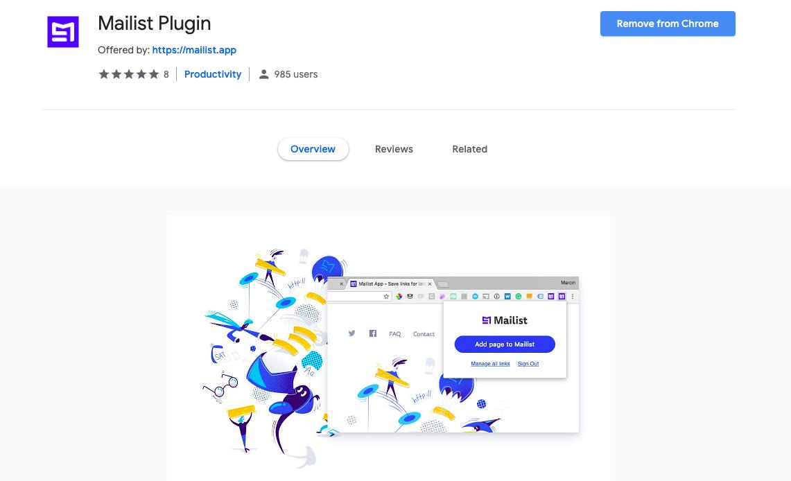 Mailist Chrome extension