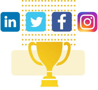 Trophy with social media icons