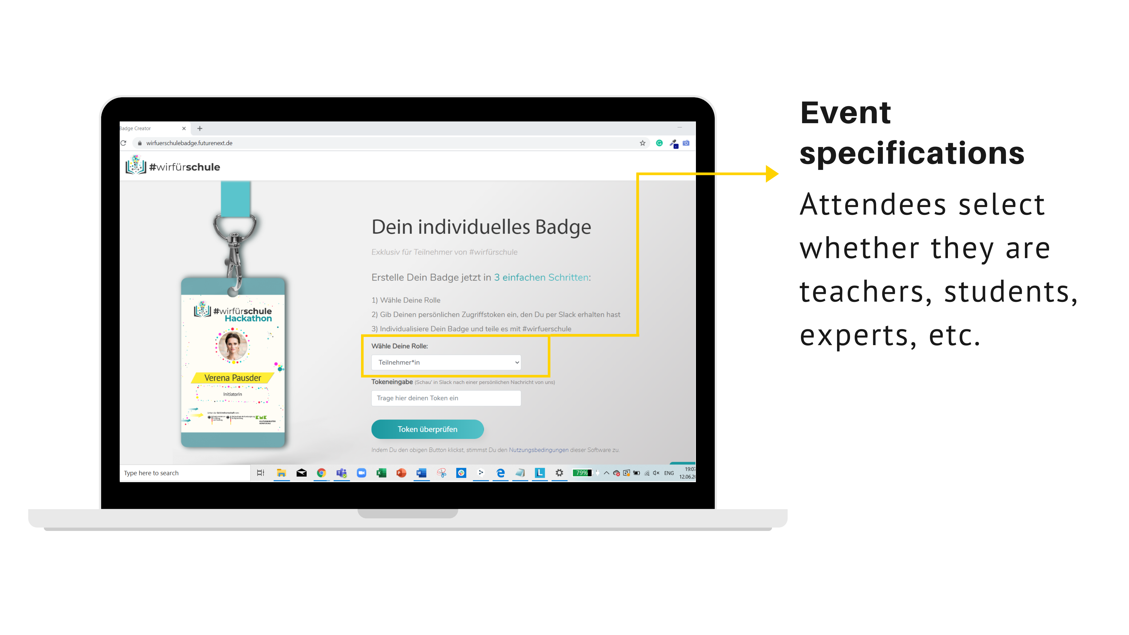 User journey for Virtual Badges