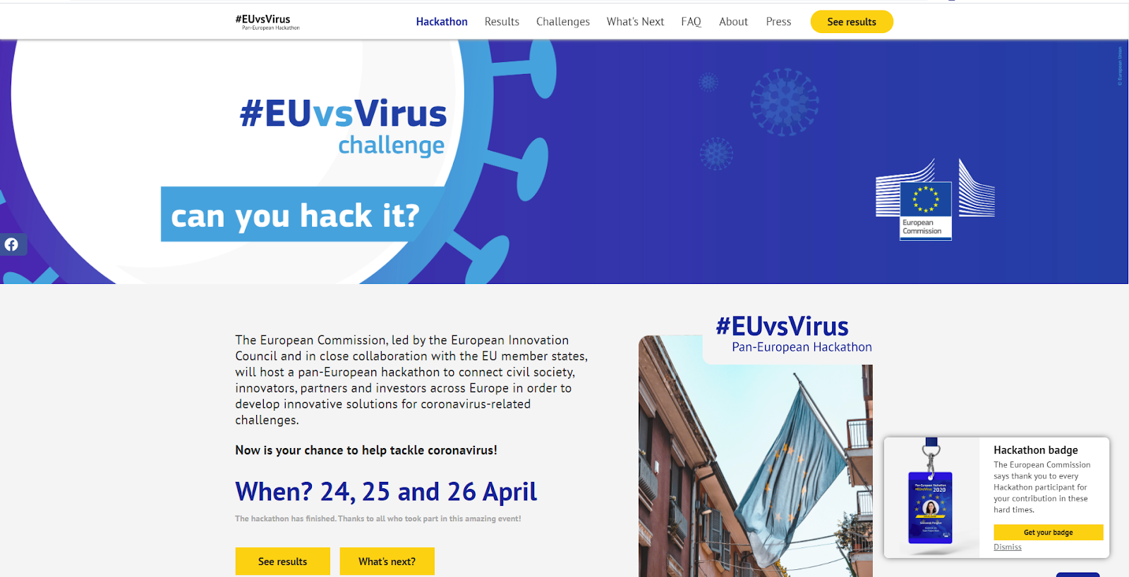 EUvsVirus landing page
