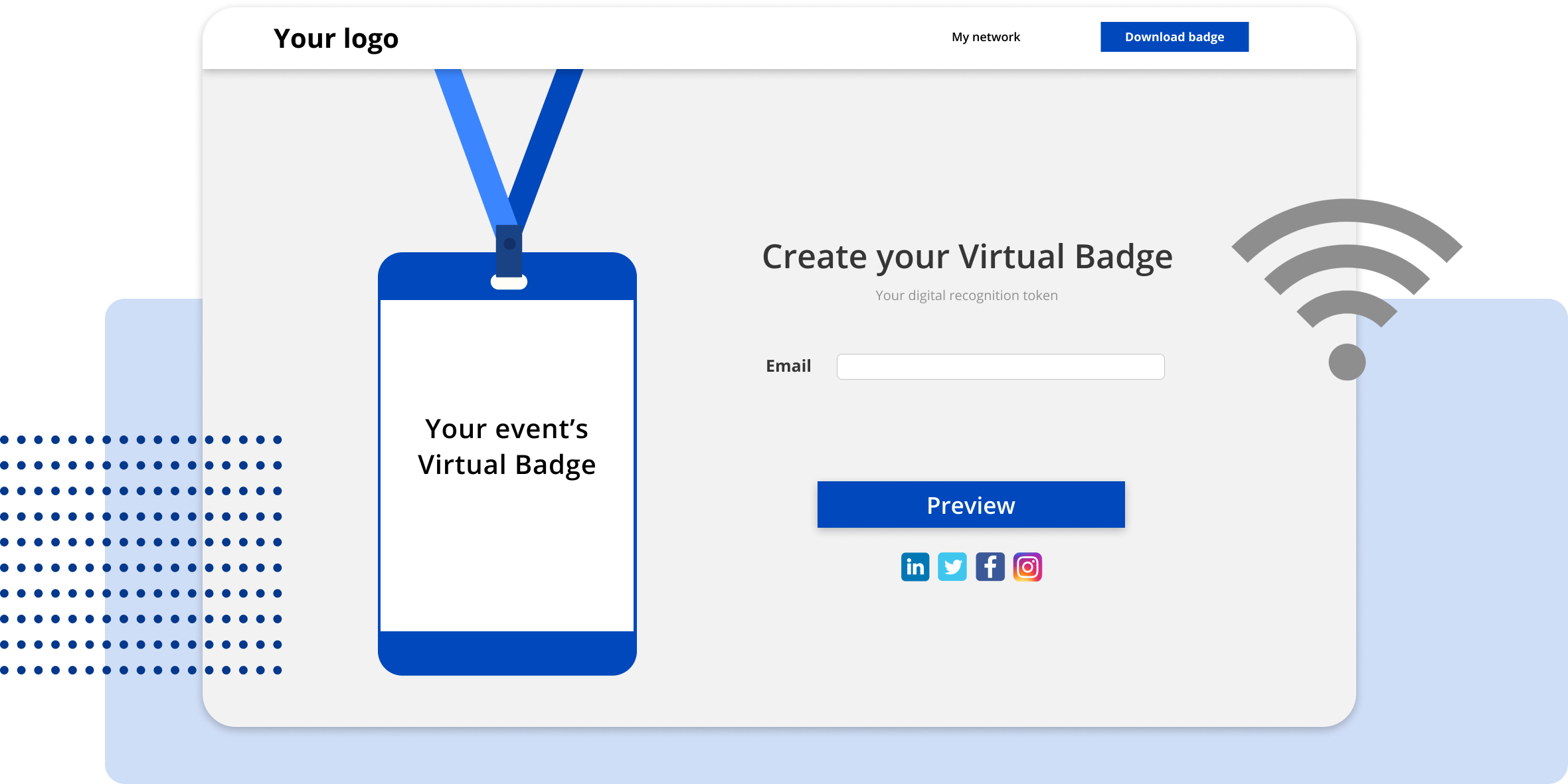 User landing page for VirtualBadges