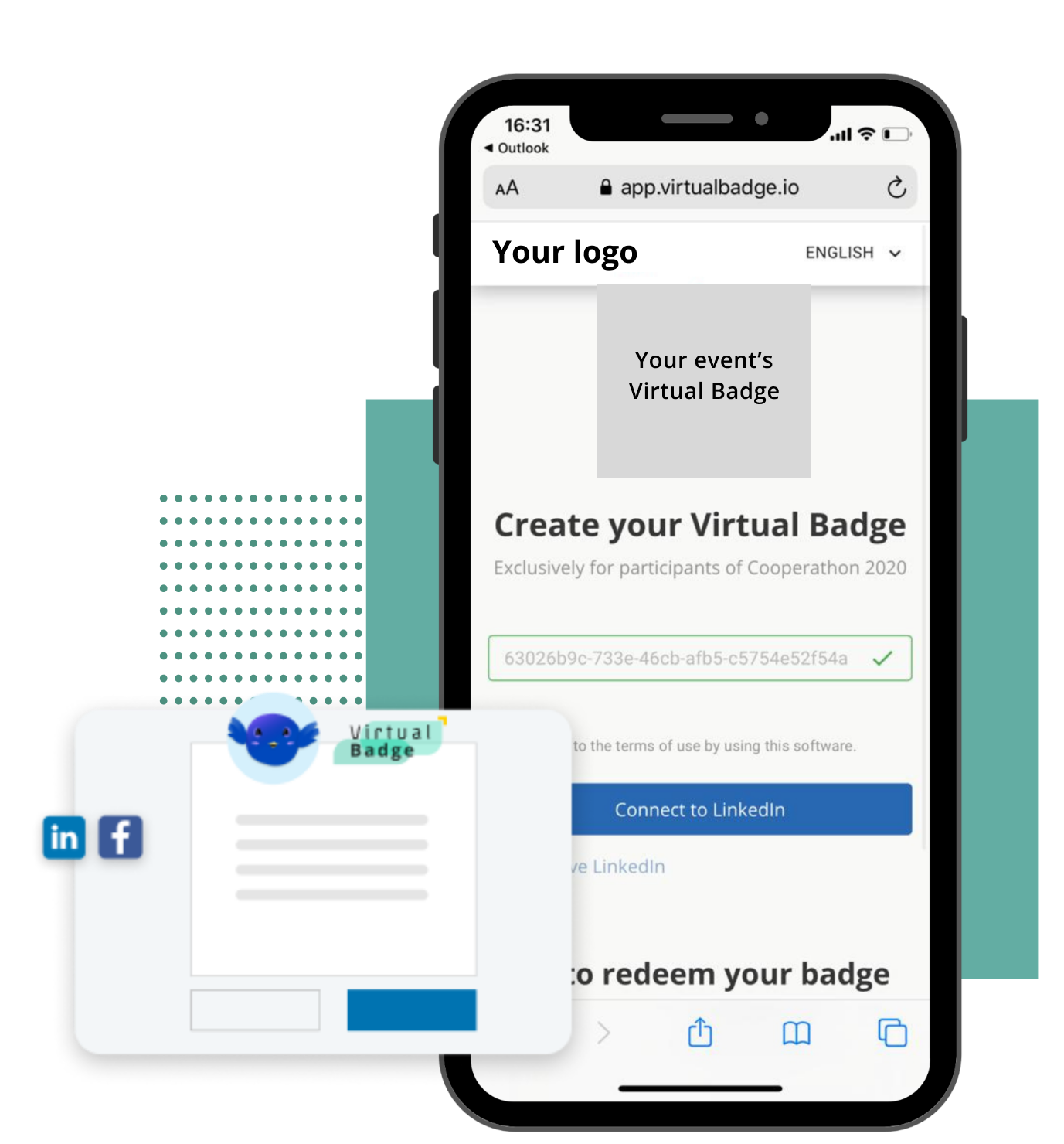 Iphone frama for users of virtual badges