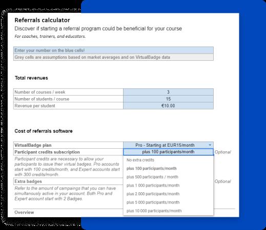 referrals calculator digital badges