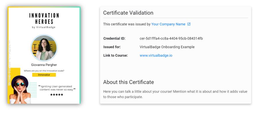 certificate validation for digital badges
