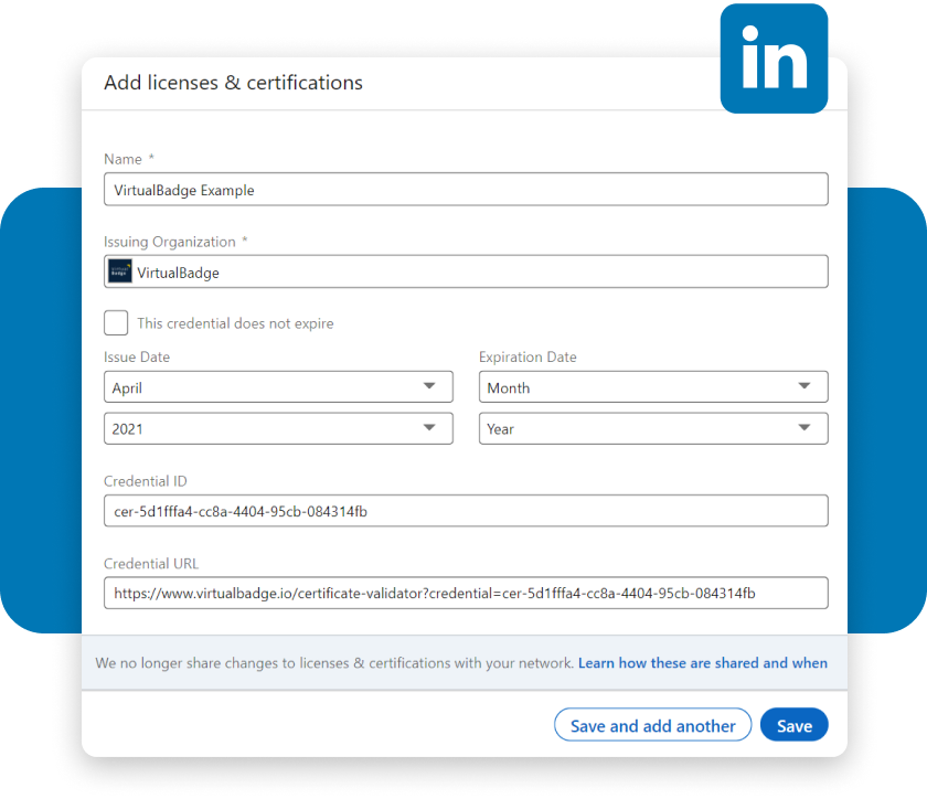 add certificates to LinkedIn with Digital Badges
