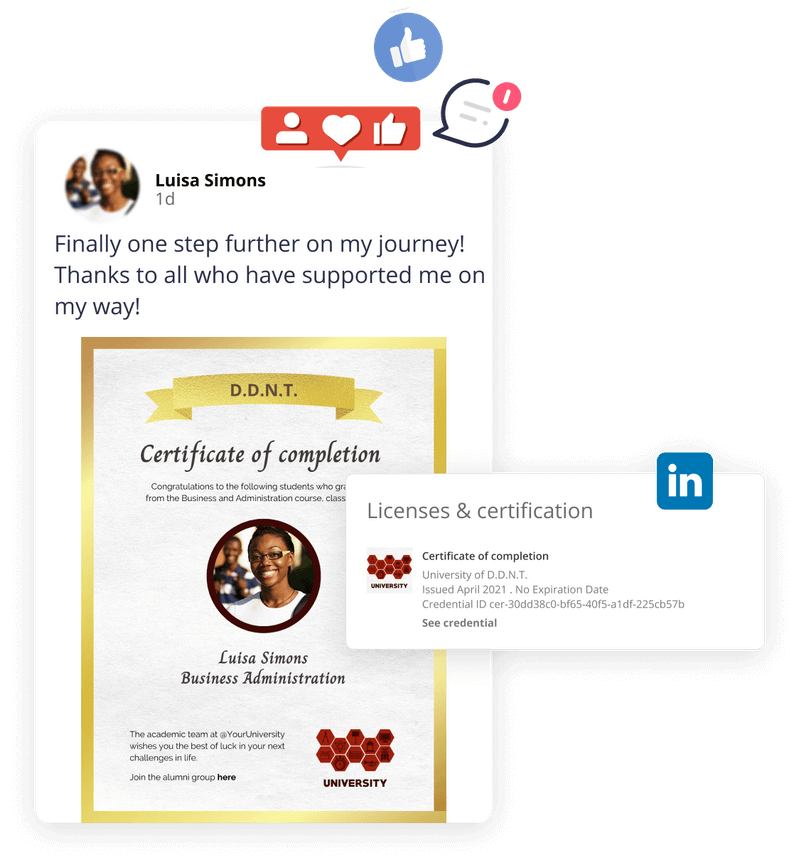 Social media share with virtual badge as certificate