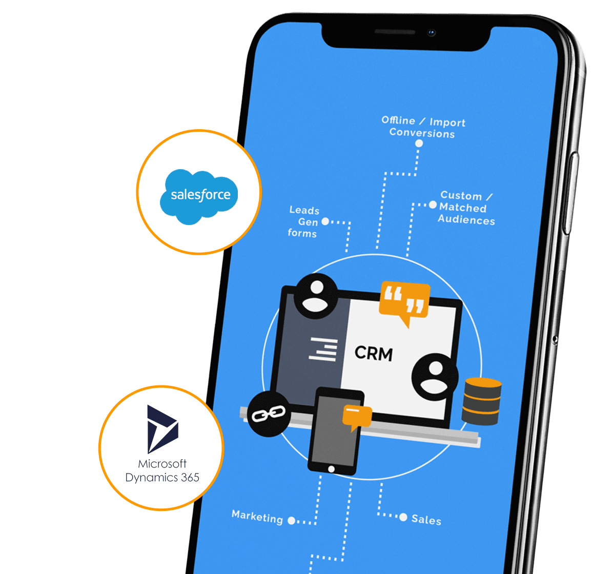 Image of a phone screen showing CRM integration
